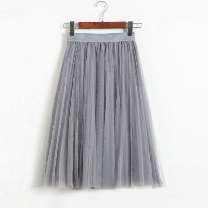 Grey High Rise Multilayered Tulle A..