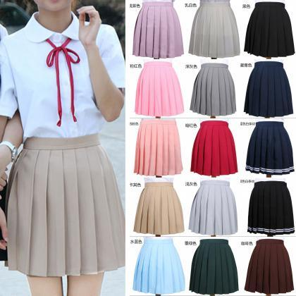 Girls High Waist Pleated Skirt Anim..