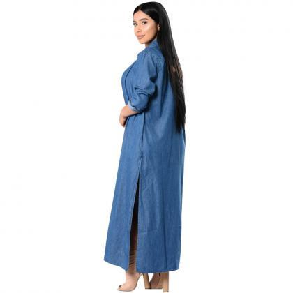 Maxi Long Denim Trench Coat Women L..