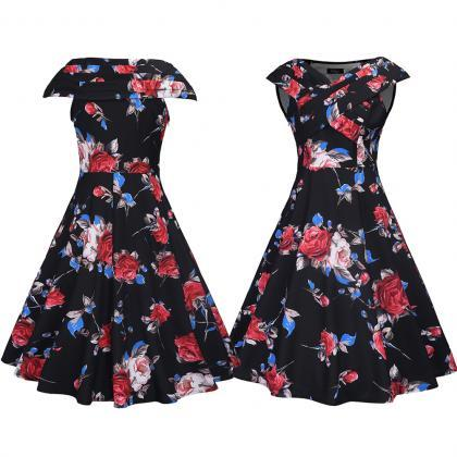 Vintage 50s 60s Floral Printed Wome..