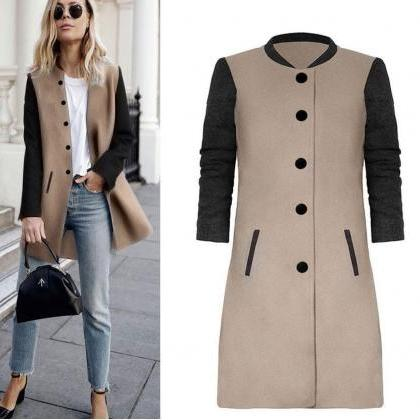 Women Lady Long Woolen Coat Autumn ..