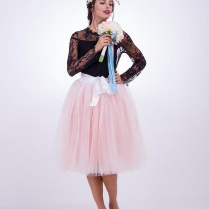 6 Layers Multi Color Tulle Midi Ski..