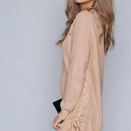Elegant Lace up Sweater Women Casua..