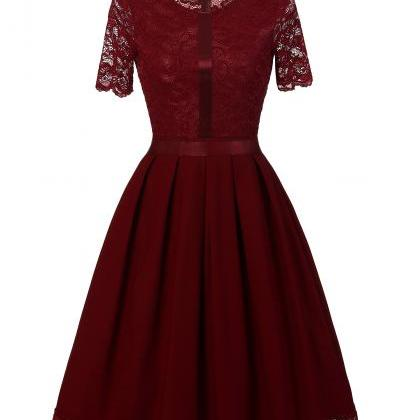 Vintage Lace Patchwork Dress Elegan..