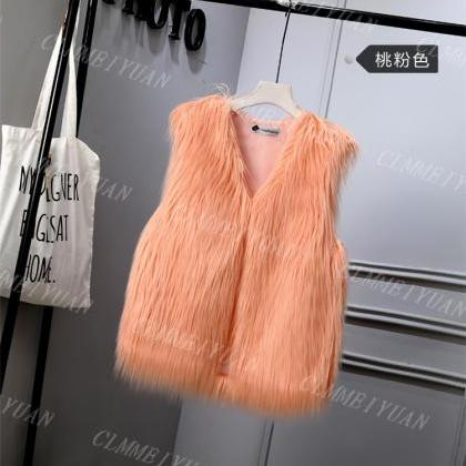 Women Faux Fur Vest Solid Winter L..