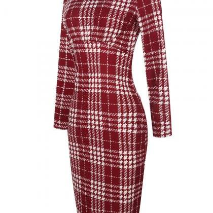 Women Long Sleeve Work Party Dress ..