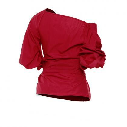 Burgundy Off-The-Shoulder Plunge V ..