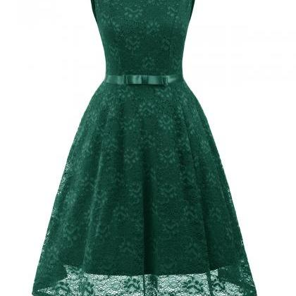 Vintage Floral Lace Dress O Neck Sl..