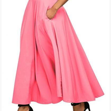 Womens Solid Long Maxi Skirt High W..