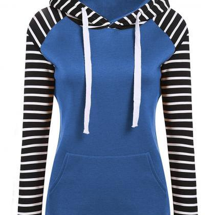Spring Autumn Striped Fleece Hoodie..