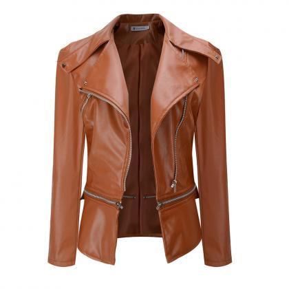 New Fashion Women Faux Leather Jack..