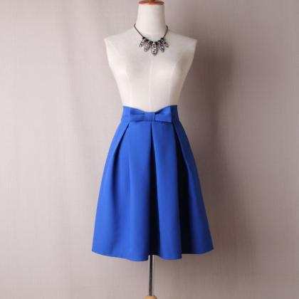 Cobalt Blue Bow Accent High-Waisted..
