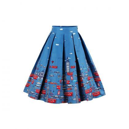 Retro Floral Printed Summer Skirts ..
