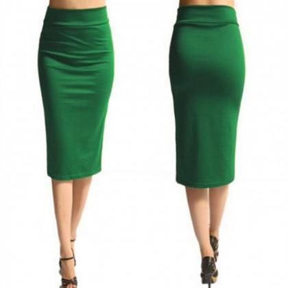 Slim Pencil Skirt High Waist Knee L..