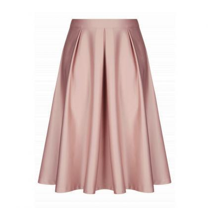 Pink Satin High Rise Ruffled A-Line..