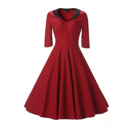 Women Rockabilly Dress Bottons Hep..