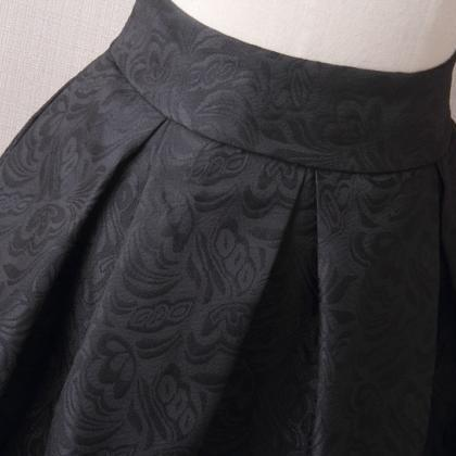 Vintage A Line Midi Skirt High Wais..