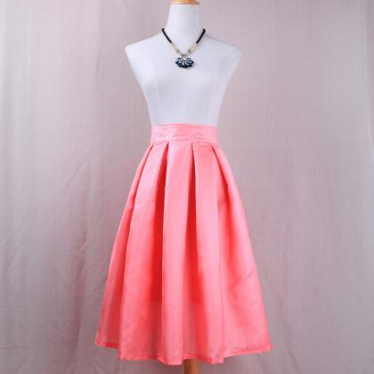 Simple Women A Line Midi Skirt High..