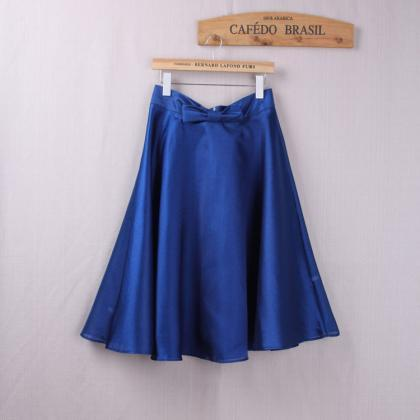 Fashion Bow High Waist A-Line Midi ..