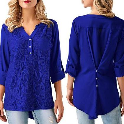 Women Tunic Chiffon Loose Blouse Fl..