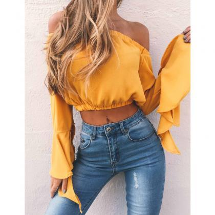 Yellow Off-The-Shoulder Casual Crop..