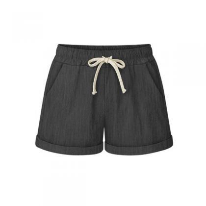 Plus Size Women Shorts Drawstring ..