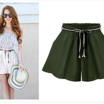 Women Wide Leg Shorts High Waist Be..
