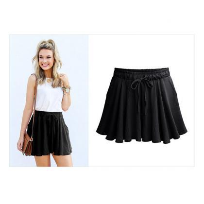 Summer Women Wide Leg Shorts Plus S..