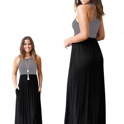Women Boho Maxi Dress Sleeveless Su..
