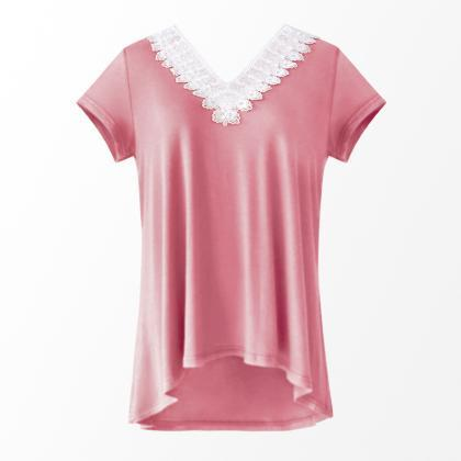 Women Summer T Shirt V Neck Short S..