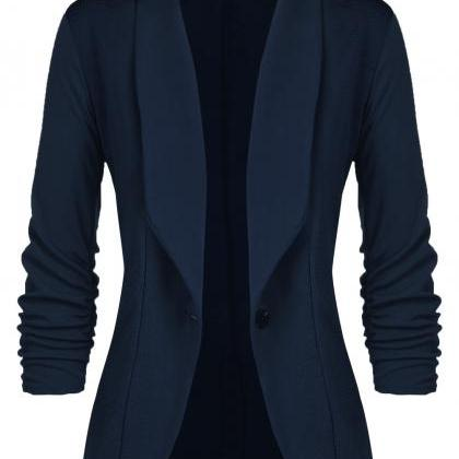 Women Slim Suit Coat 3/4 Sleeve One..