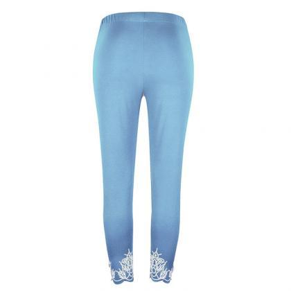 Women Leggings Floral Lace Hollow O..