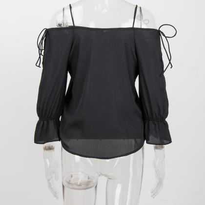 Women Chiffon Blouses Off Shoulder ..