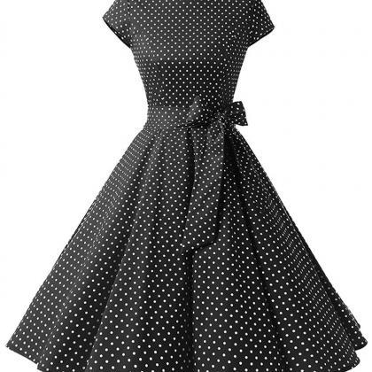 Vintage Polka Dot Dress Women Summe..