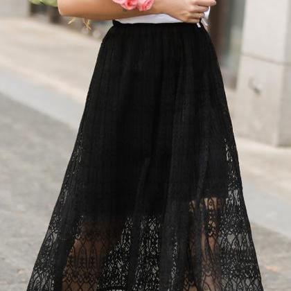 Women Lace Skirt Elegant Elastic Hi..