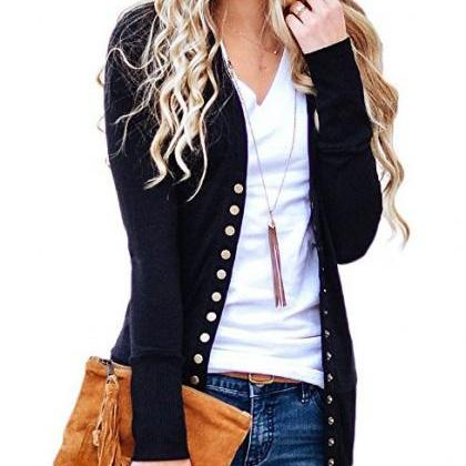 Women Cropped Cardigan V Neck Long ..