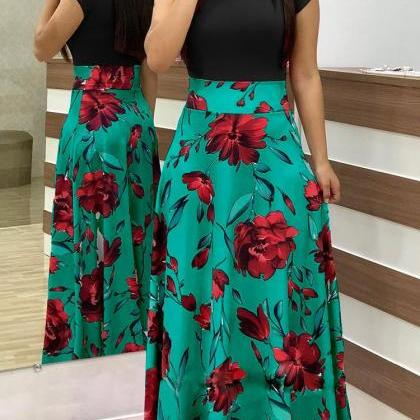 Women Floral Printed Maxi Dress Sho..