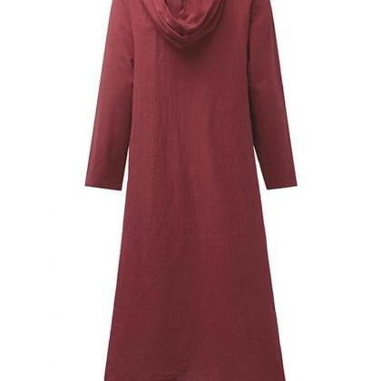 utumn Women Maxi Dress Loose V Neck..