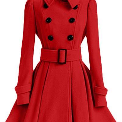 Winter Women Woolen Coat Casual War..