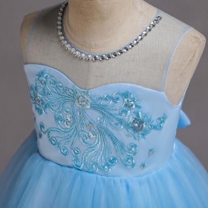Embroidery Lace Flower Girl Dress S..