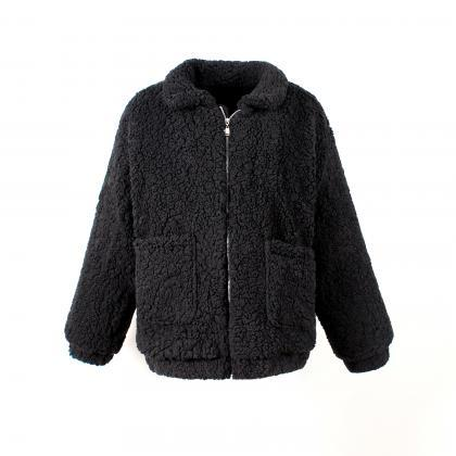 Women Faux Fur Coat Winter Turn-do..