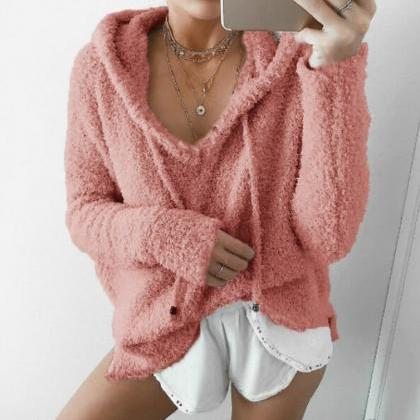 Women Fluffy Mohair Sweatshirt Autu..