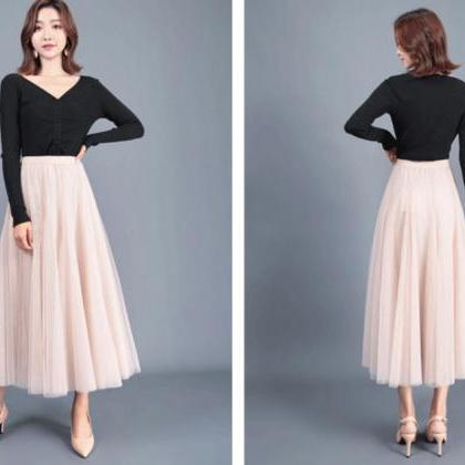 Women Long Tulle Mesh Skirt Elastic..