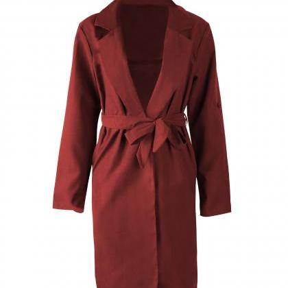 Women Trench Coat Autumn Turn down ..