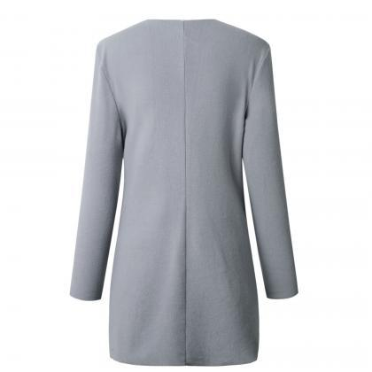 Women Slim Coat Autumn V Neck Casua..