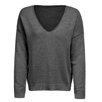 Women Knitted Sweater Autumn Solid ..