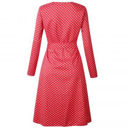 Women Polka Dot Shirt Dress Autumn ..