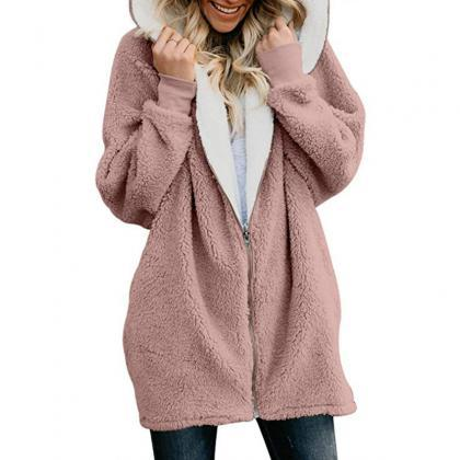 Women Plush Coat Autumn Winter Zipp..