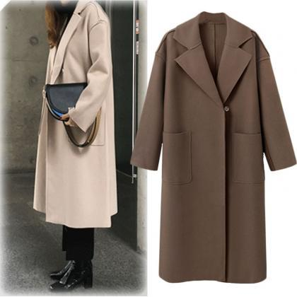 Women Long Woolen Blends Coat Autum..