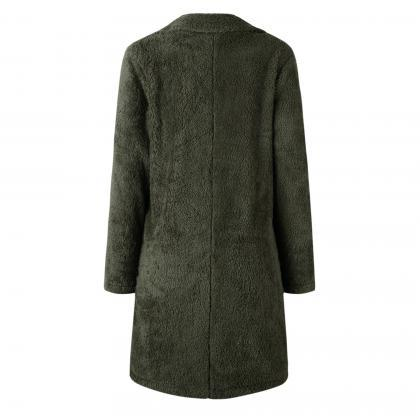 Women Plush Coat Winter Thick Long ..